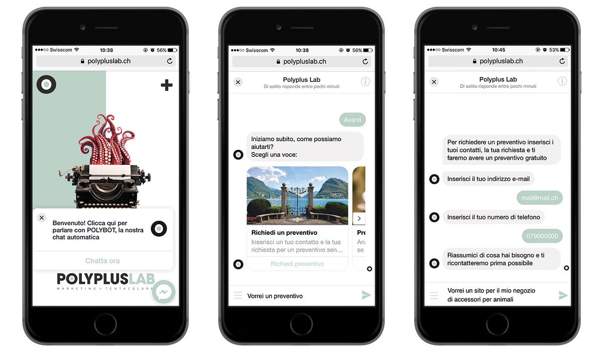 Un esempio di interazione con il ChatBot di PolyPlus Lab: il cliente può scegliere di navigare tra i servizi o richiedere un preventivo